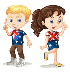Boy and girl in american t-shirts vector