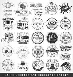 Bakery coffee chocolate labels and badges vector