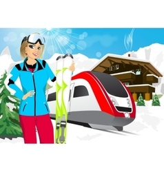 Pretty woman skier in mountain resort vector