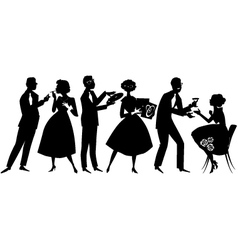 1950s party goers vector
