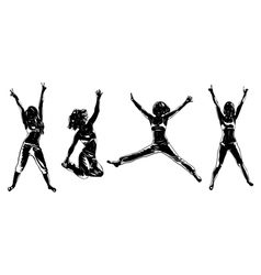 Four happy girls silhouettes vector