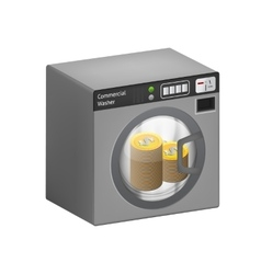 Dollar coins in washing machine vector image