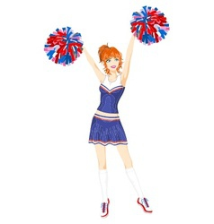 Cheerleader with pom-poms vector