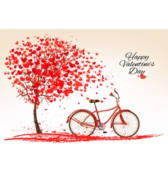 Valentines day background with a bike and a tree vector