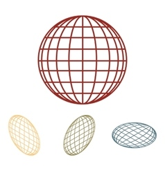 Earth globe - icon set isometric effect vector