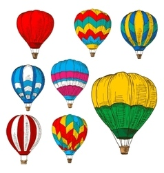 Hot air balloons in flight colored retro sketches vector