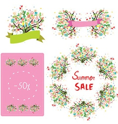 Floral set for the sale and promotion vector