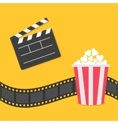 Popcorn film strip border open movie clapper vector