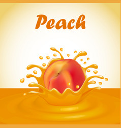 A splash of juice from a falling peach and drops vector