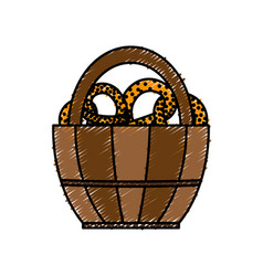 Basket with pretzels icon vector