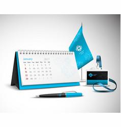 Calendar Corporate Identity Mockup Set vector image