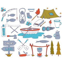 Camping adventure set vector image