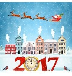Christmas winter city street vector image vector image