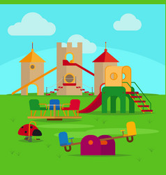 Colorful playground with slides and swings vector