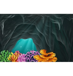 Coral reef in the cave underwater vector