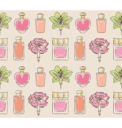 Cosmetics seamless pattern hand drawn Perfume vector image vector image