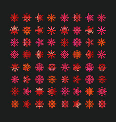 Different abstract red snowflakes collection vector