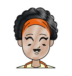Drawing girl young afro smiling close eyes vector