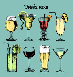 Drinks menu hand sketched cocktails glasses vector