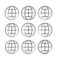 Earth Globe Emblem Set vector image vector image