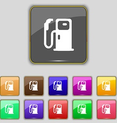 Fuel icon sign set with eleven colored buttons for vector