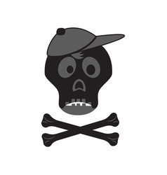 funny skull with crossbones in a cap vector image