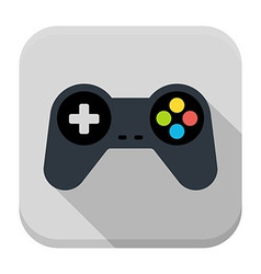 Game controller flat app icon with long shadow vector