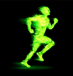 Green fiery running man vector