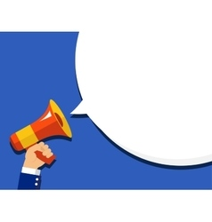 Hand holding megaphone with bubble speech vector