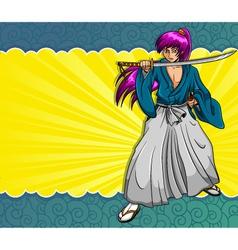 manga samurai vector image