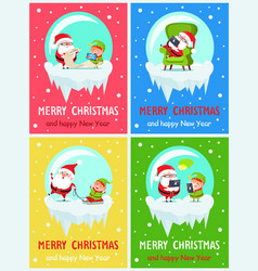 Merry christmas icy banners vector