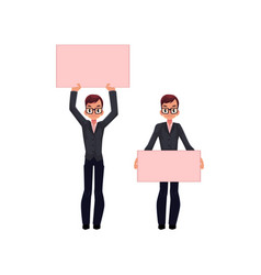 office worker with empty pink banner set vector image vector image