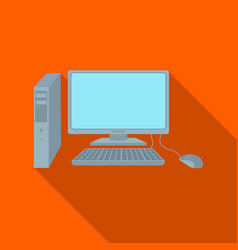 Personal computer icon in flat style isolated on vector