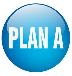 Plan a blue round gel isolated push button vector