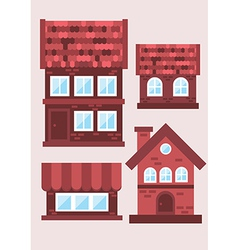 Samples of brick houses on a light background vector