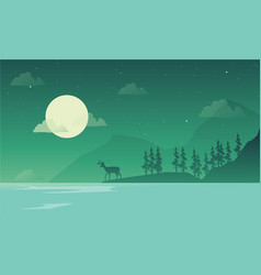 scenery at night mountain silhouettes vector image vector image