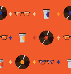 Seamless pattern with hipster glasses vinyl vector
