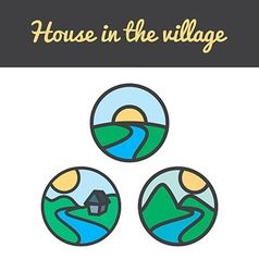 set of nature icons from sun hills river mountains vector image