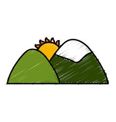 sun in mountains vector image