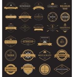 Vintage labels logo with crown anchor arrow vector image