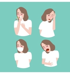 woman girl symptoms sick cough flu vector image