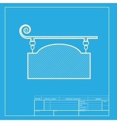 Wrought iron sign for old-fashioned design white vector