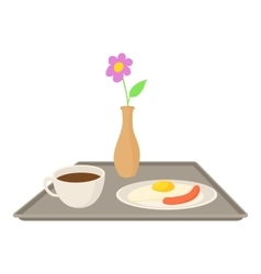 Breakfast in bed icon cartoon style vector