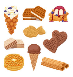 Different wafer cookies on white background waffle vector
