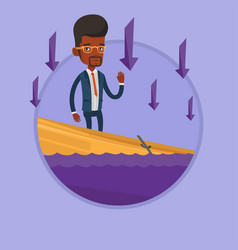 Businessman standing in sinking boat vector