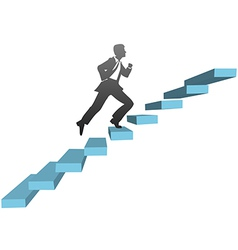 Business man running climb stairs vector