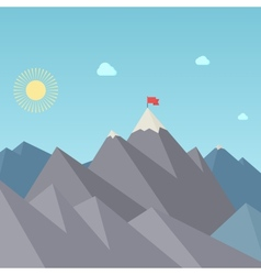 Flag on the mountain peak goal achievement vector