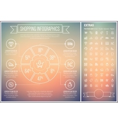 Shopping line design infographic template vector
