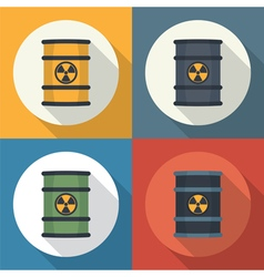 Radioactive barrel set icon vector
