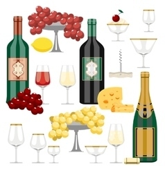 Set of wine and food vector